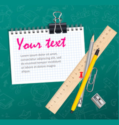 School background with notepad wooden ruler and vector image vector image