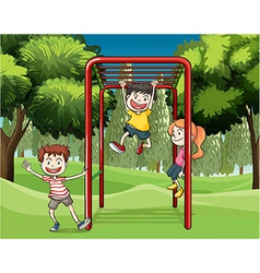 Three kids playing at the park vector