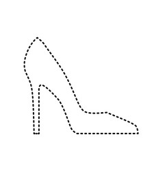woman shoe sign black dashed icon on vector image