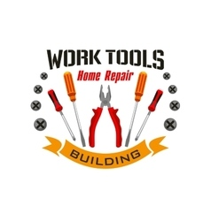 Work tools icons for home reapir emblem vector image