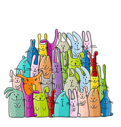 big rabbits family for your design vector image vector image