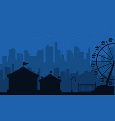 collection of amusement park scenery silhouette vector image