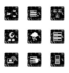 Data storage icons set grunge style vector