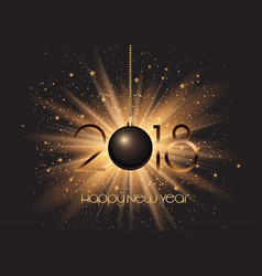happy new year bauble on starburst background vector image vector image