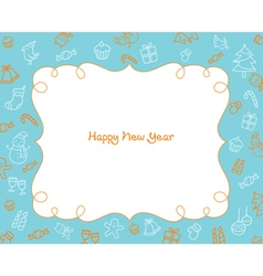 New Year Decoration Outline Icons Border Blue Bac vector image vector image
