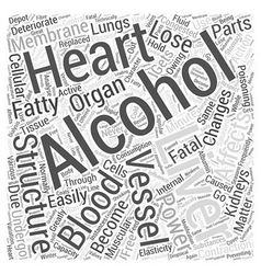 ACTION OF ALCOHOL ON INTERNAL ORGANS Word Cloud vector image