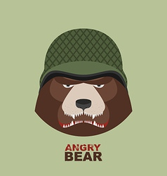 Bear soldierHead of angry bear in military helmet vector image