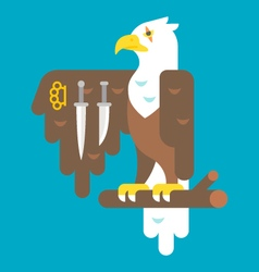 Flat design eagle with weapons vector image