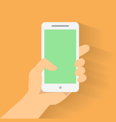 Hand holding smart phone on orange background vector image vector image
