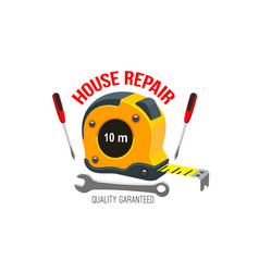 house repair icon with work tool and tape measure vector image vector image