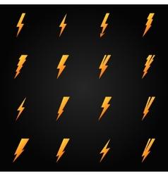 Lightning icons gold set vector image