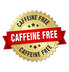 caffeine free round isolated gold badge vector image vector image