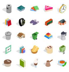 cottage icons set isometric style vector image