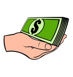 hand with dollar bills icon cartoon vector image vector image