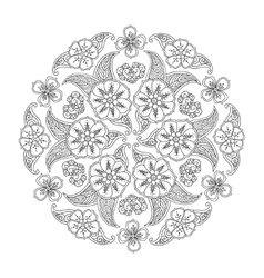 Mendie Mandala with flowers and leaves vector image vector image
