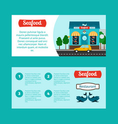seafood house horizontal flyers vector image