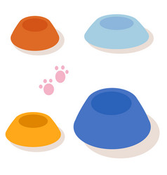 set of multi-colored bowls for pets isolated on vector image vector image