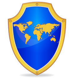 shield with silhouette of map the world vector image vector image