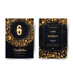 6th years birthday black paper luxury vector