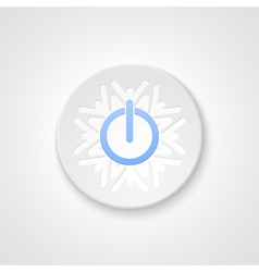 Abstract power button on the snowflake vector image