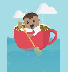 african businessman on boat rowing like coffee vector image