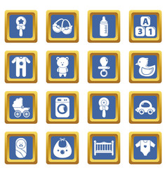 baby born icons set blue square vector image