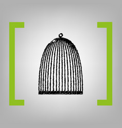 bird cage sign black scribble icon in vector image