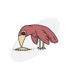 Bird pecking seeds vector