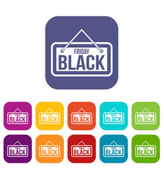 Black friday signboard icons set vector