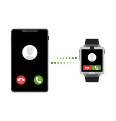 black touchscreen smartwatch and smartphone vector image