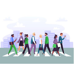 business people cross road businessman crosses vector image