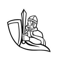 bust medieval king regnant wielding a sword vector image