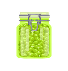 Canned green pea legume in glass jar with clip cap vector