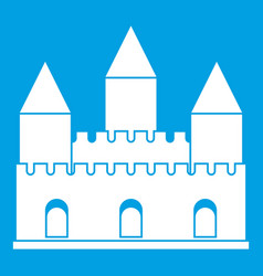 castle tower icon white vector image