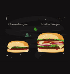 Cheeseburger and double burger sandwiches vector