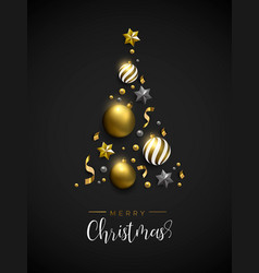 christmas gold pine tree decoration layout card vector image