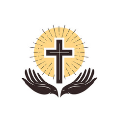 Church logo cross and hands christian symbol vector