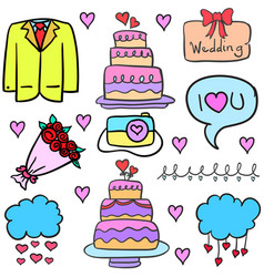 collection stock of wedding object in doodles vector image