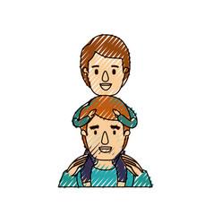 Color crayon stripe caricature half body young vector