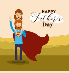 Colorful landscape background with dad super hero vector