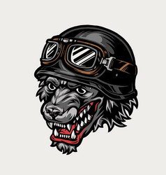 Colorful motorcyclist aggressive wolf head vector