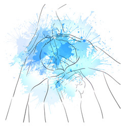 contour of human hands sign of peace and watercolo vector image