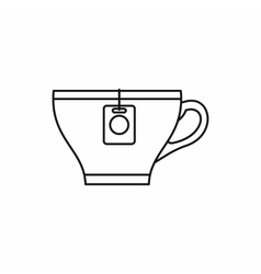 Cup with teabag icon outline style vector image