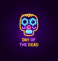 day dead skull neon label vector image