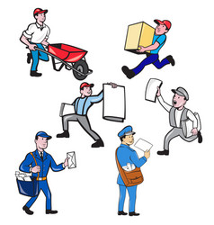 delivery person mascot cartoon set vector image