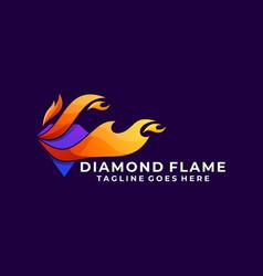 diamond flame colorful template design vector image