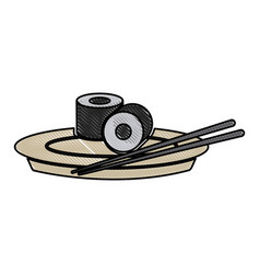 Drawing japanese sushi food dish stick culture vector