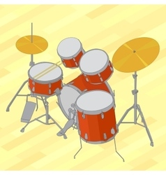 Drum set flat isometric vector