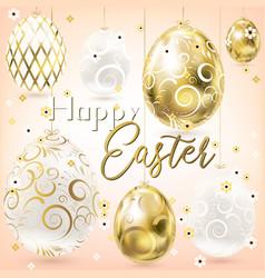 Easter porceline and golden vintage eggs vector