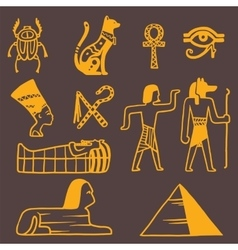 Egypt travel icons symbols vector image